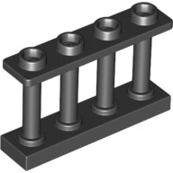 Black Fence 1 x 4 x 2 Spindled with 4 Studs  6066113