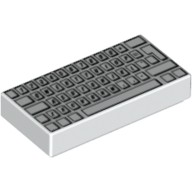 White Tile 1 x 2 with Computer Keyboard Standard Pattern  4227921 or 4293350