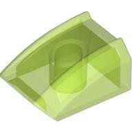 Trans-Bright Green Slope, Curved 2 x 2 Lip, No Studs  4571137