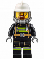 Fire - Reflective Stripes with Utility Belt, White Fire Helmet, Breathing Neck Gear with Airtanks, Trans Black Visor, Goatee