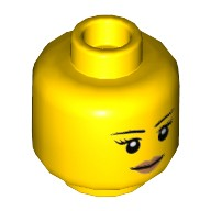 Yellow Minifigure, Head Female with Black Thin Eyebrows, Eyelashes, White Pupils and Peach Lips Smile Pattern - Hollow Stud  6100203
