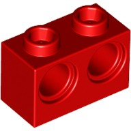 Red Technic, Brick 1 x 2 with Holes  4179355