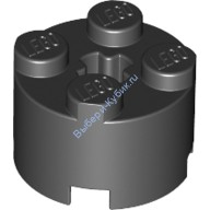 Black Brick, Round 2 x 2 with Axle Hole  614326