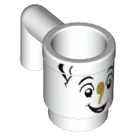 White Minifig, Utensil Cup with Smiling Face Pattern (Chip)  6152347