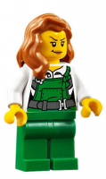 Police - City Bandit Female with Green Overalls, Dark Orange Female Hair over Shoulder, Peach Lips Smirk