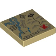 Tan Tile 2 x 2 with Map River, Dark Tan Mountains, Handwriting and Red 'X' Pattern  4524449