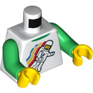 White Torso Classic Space Minifigure Floating Pattern / Green Arms / Yellow Hands  4549942