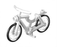 White Bicycle, Complete Assembly (1-Piece Wheels)