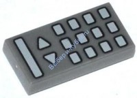 Dark Bluish Gray Tile 1 x 2 with TV Remote Control Pattern  6064373