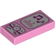 Bright Pink Tile 1 x 2 with Magenta and White Cell Phone / Music Player Pattern  4621609