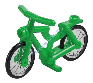 Green Bicycle, Complete Assembly (1-Piece Wheels)