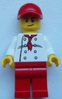 Chef - White Torso with 8 Buttons, Red Legs and Red Cap with Hole (City Square Hot Dog Vendor)
