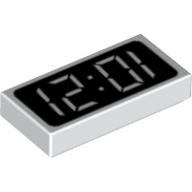 White Tile 1 x 2 with Clock Digital Pattern - '12:01' or '10:21'  81268