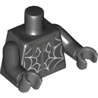 Black Torso with Dark Bluish Gray Hoodie Outlines, White Spider Web Pattern / Black Arms / Dark Bluish Gray Hands  6224432