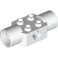 White Technic, Brick Modified 2 x 2 with Pin Holes and 2 Rotation Joint Sockets  4218492 or 6035622 or 6097288