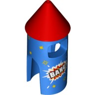 Blue Minifig, Costume Firework Rocket with Red Top, 'BANG' and Yellow Stars Pattern  6224209