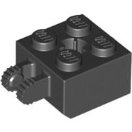 Black Hinge Brick 2 x 2 Locking with 2 Fingers Vertical and Axle Hole  4162235