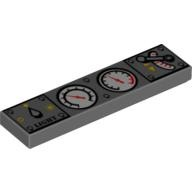 Dark Bluish Gray Tile 1 x 4 with Light Switch, 2 White Gauges and Train Throttle Pattern  4215740 or 6020825