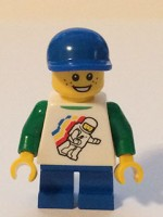 Classic Space Minifig Floating Pattern, Blue Short Legs, Blue Short Bill Cap