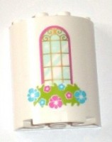 White Cylinder Half 2 x 4 x 4 with Window and Flower Box Pattern  6135353