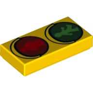Yellow Tile 1 x 2 with Traffic Light Minifig Green Walk and Red Don't Walk Pattern (10687)  6115042