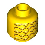 Yellow Minifigure, Head with Pineapple Pattern - Stud Recessed  6055385