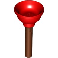 Red Minifig, Utensil Plunger (Soft Plastic) with Reddish Brown Handle  6109002