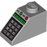 Light Bluish Gray Slope 45 2 x 1 with Green and Red Buttons and Keypad Pattern  4228198