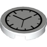 White Tile, Round 2 x 2 with Bottom Stud Holder with Clock Pattern  6052201