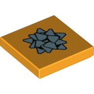 Bright Light Orange Tile 2 x 2 with Metallic Blue Gift Bow Pattern  6224332