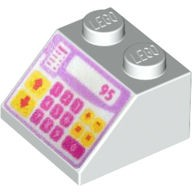 White Slope 45 2 x 2 with Pink, Purple and Yellow Cash Register Pattern  6133260
