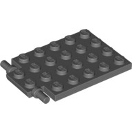 Dark Bluish Gray Plate, Modified 4 x 6 with Trap Door Hinge (Long Pins)  4595710