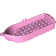 Bright Pink Boat, 14 x 5 x 2 with Oarlocks and 2 Hollow Inside Studs