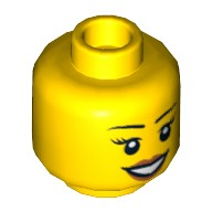 Yellow Minifig, Head Dual Sided Female Peach Lips, Black Eyebrows, Open Mouth Smile / Scared Pattern - Stud Recessed  6040316