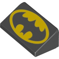 Black Slope 30 1 x 2 x 2/3 with Batman Logo Pattern (Head Facing Narrow End of Slope)  6145437