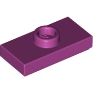 Magenta Plate, Modified 1 x 2 with 1 Stud with Groove and Bottom Stud Holder (Jumper)  6101073