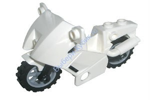 White Motorcycle City, Complete Assembly with Black Chassis (Short Fairing Mounts) and Light Bluish Gray Wheels