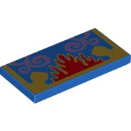 Blue Tile 2 x 4 with Gold, Red and Lavender Oriental Rug Pattern  6102643