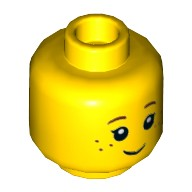 Yellow Minifigure, Head Black Eyelashes, Brown Eyebrows, Freckles Pattern - Hollow Stud  6000287 or 6105708