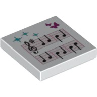 White Tile 2 x 2 with Music Notes and Butterflies Pattern  6001512