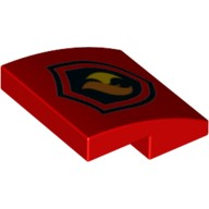 Red Slope, Curved 2 x 2 No Studs with Fire Logo Pattern  6132565