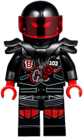 Mr. E - Biker Vest with Number 103 and Red and Silver Patches and Garmadon Mask on Back, Black Helmet with Trans-Red Visor, Flame Eyes, Armor