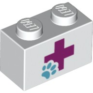 White Brick 1 x 2 with Red Cross and Animal Paw Pattern  6101032
