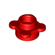 Red Plate, Round 1 x 1 with Flower Edge (4 Knobs / Petals)  6035617 or 6163983