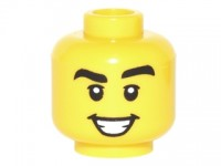 Yellow Minifig, Head Black Eyebrows Thick, White Pupils, Open Smile with Teeth Pattern - Stud Recessed  6160224