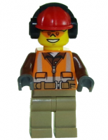 Construction Worker - Orange Zipper, Safety Stripes, Belt, Brown Shirt, Dark Tan Legs, Red Construction Helmet, Headphones, Sunglasses