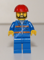 Blue Jacket with Pockets and Orange Stripes, Blue Legs, Red Construction Helmet, Black Angular Beard