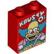Red Brick 1 x 2 x 2 with Inside Stud Holder with 'KRUSTY O's' Cereal Box Pattern  6117540
