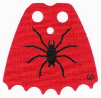 Red Minifig, Cape Cloth, Scalloped 6 Points with Black Spider Pattern