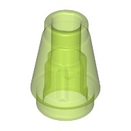 Trans-Bright Green Cone 1 x 1 with Top Groove  6053084
